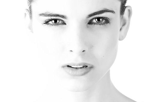 Model, Face, Beautiful, Black And White