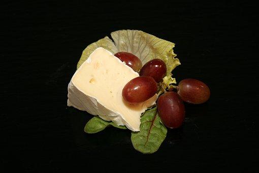 Сыр, Бри, Виноград, Салат, Столовая, Еда