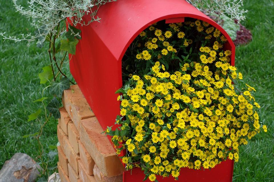 赤いポスト, 黄色の花, 花展覧会, Floraartザグレブ2017