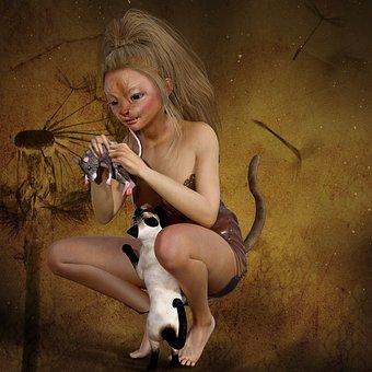 Naket dievčatá mačička
