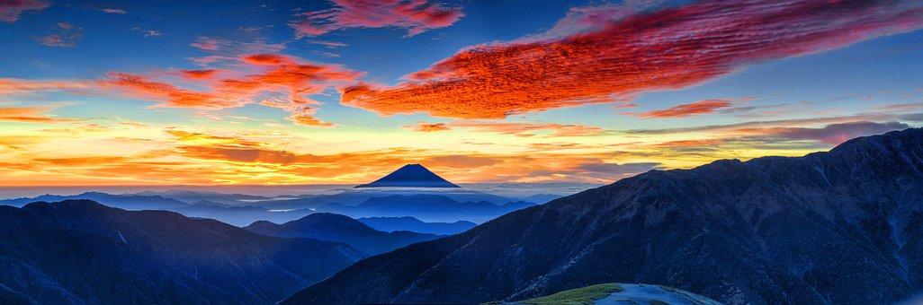 富士山, 火山, 日本, 朝焼け, 風景, 日没, ミステリー, 山, 青風景