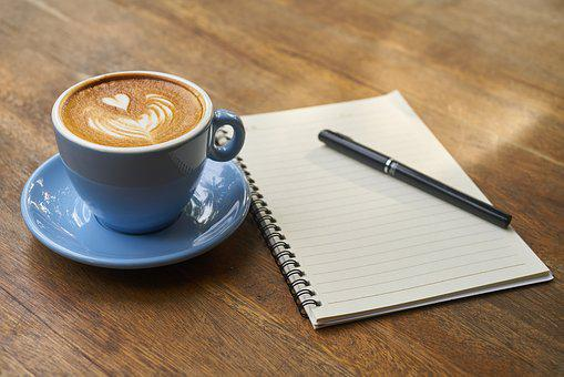 Coffee, Pen, Notebook, Caffeine, Cup