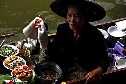 女性, 従業員, ワーキング, タイ, アジア, 市場, 仕事, 食品, コック