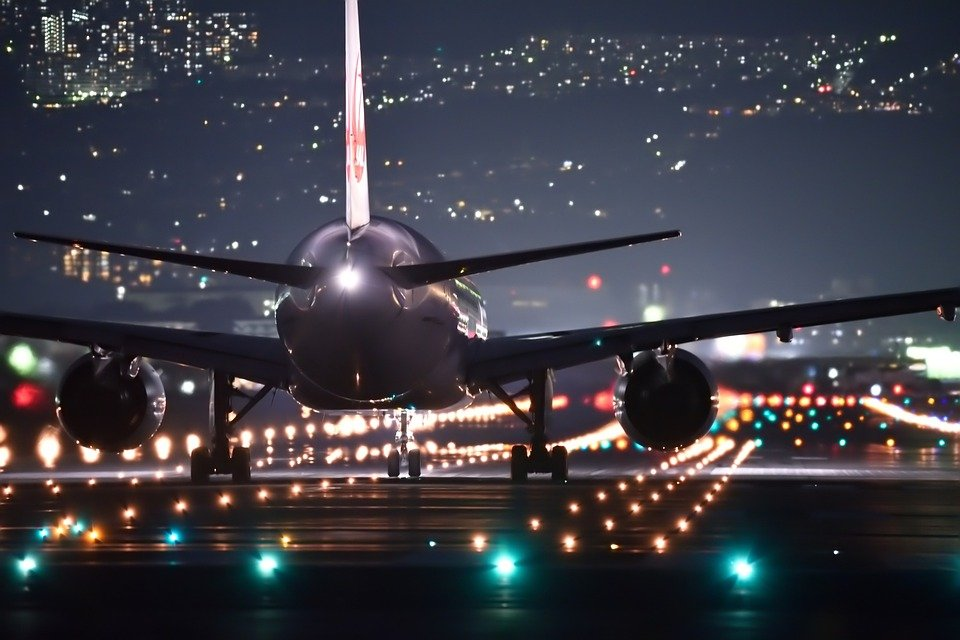 Night Flight Plane Airport