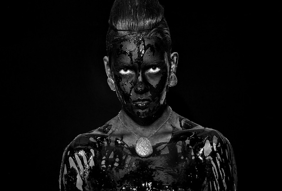 Zwart Wit, Portret, Vrouw, Juwelen, Kijken, Black