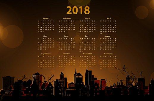Kalender, Neujahr, Silvester, 2018