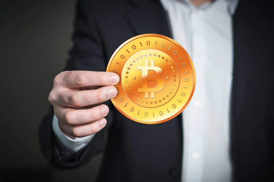 Hand Man Bitcoin Keep Present Coin Money
