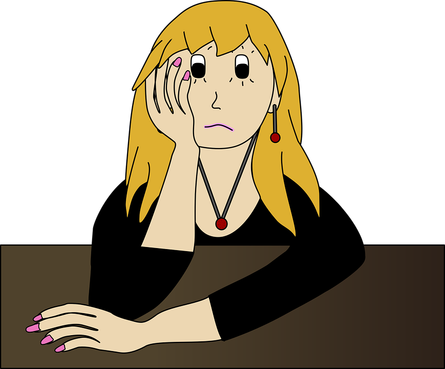 Free Vector Graphic: Worried, Bored, Sad, Girl, Woman