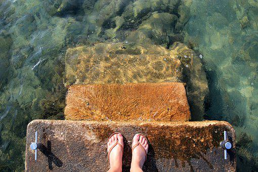 Sea, Water, Feet, Sandals, Flip Flops