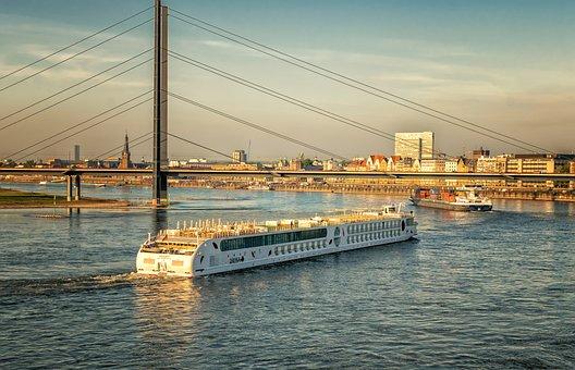 Fluss, Rhein, Düsseldorf, Abendhimmel