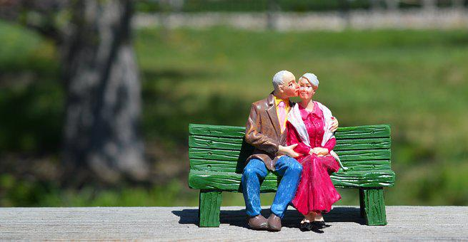 Old Couple, Sitting, Grandparents, Bench