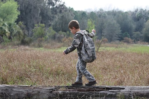 Boy, Camouflage, Outdoors, Nature, Kid