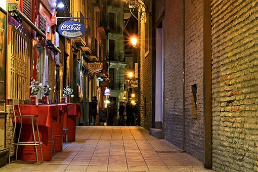 バー, ストリート, 市, 夜, ディナー, 自転車, 居酒屋, 酔っぱらい