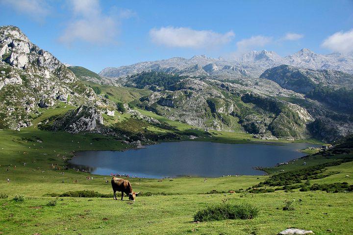 Montañas, Lago, Azul, Paisaje