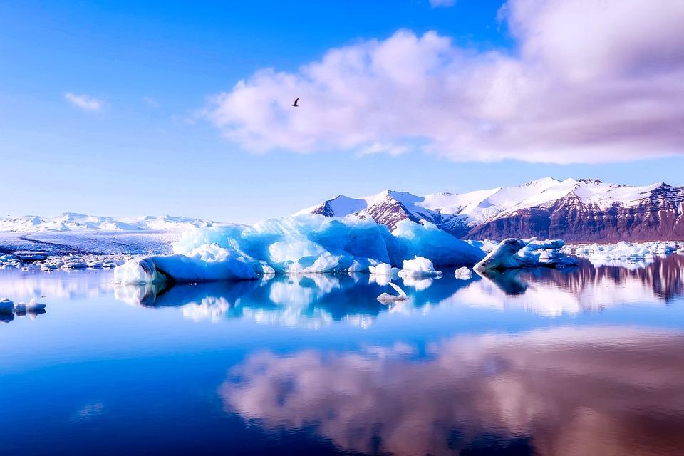 アイスランド, 空, 雲, 山, 海, 反射, 氷, 氷氷山, 冬, 雪, 冷凍, 自然, アウトドア