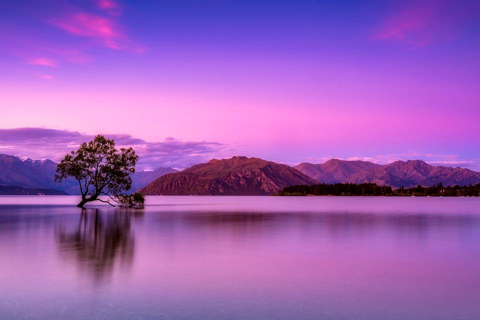 ニュージーランド, 空, 雲, 山, 霧, 日の出, 日没, ツリー, 分離, 湖, 水, 反射, 風光明媚な