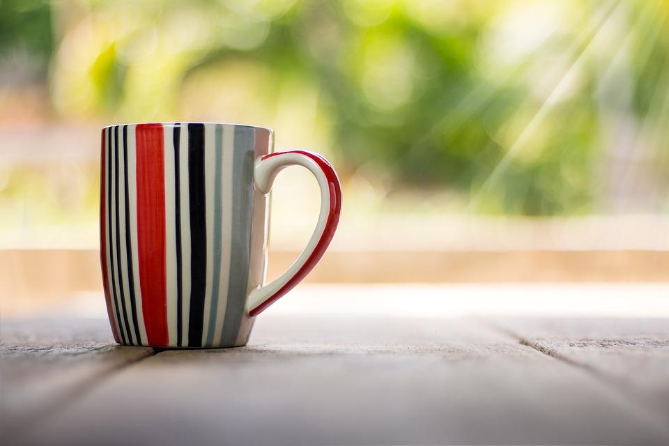 カップ, コーヒー, ビンテージ, ドリンク, カフェ, クローズアップ, ボケ, ストライプ, 茶