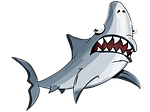 shark, white, cartoon