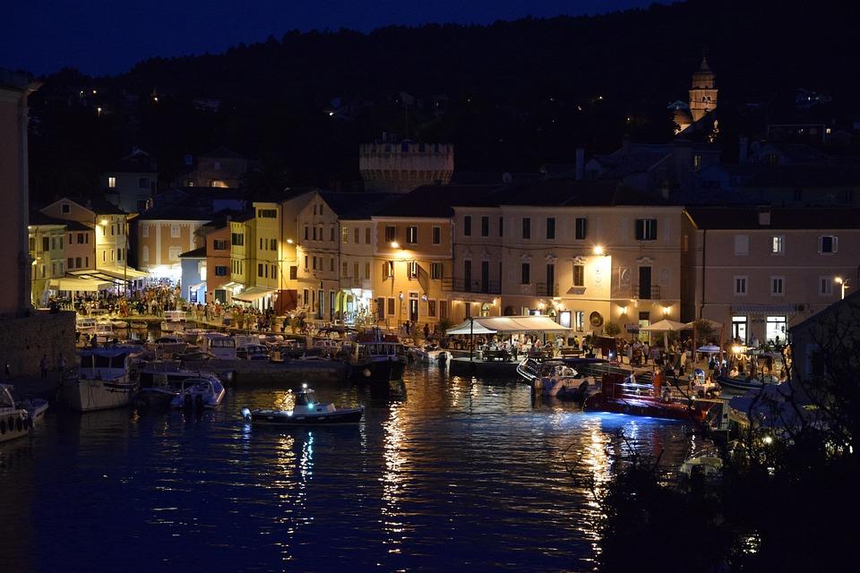 湾, 夜には、, 光, クロアチア, 夜の写真, ビーチ, アドリア