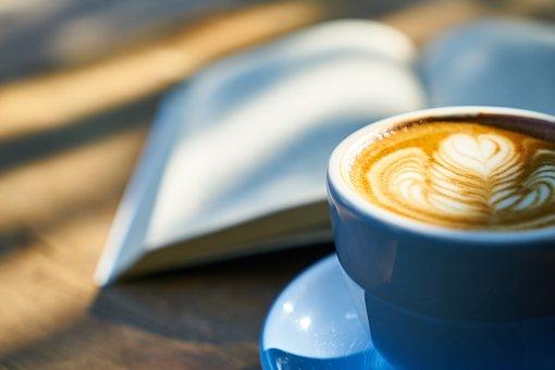 咖啡, 书, 咖啡因, 杯, 浓咖啡, 咖啡杯, 卡布奇诺, 早上好, 上午