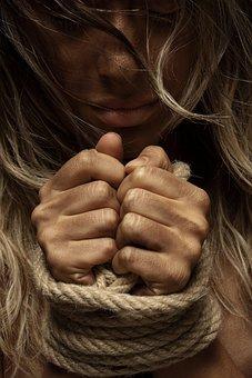 Corda, Escravidão, Modelo, Mãos, Mulher