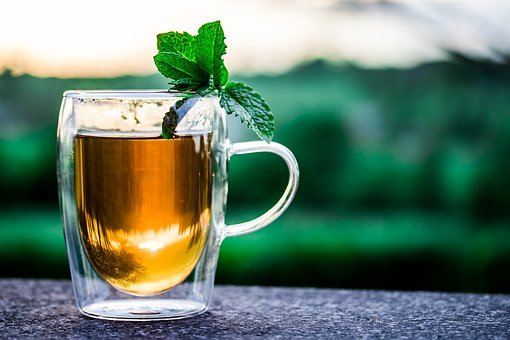茶碗, 1杯の紅茶, ペパーミントティー, ティー, ドリンク, ホット