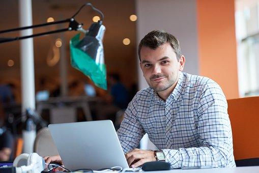 Entrepreneur, Ordinateur, Homme, Bureau