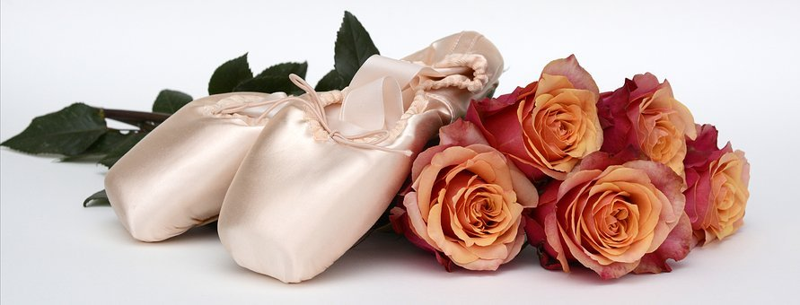 Ballet Shoes, Dance, Roses, Flowers