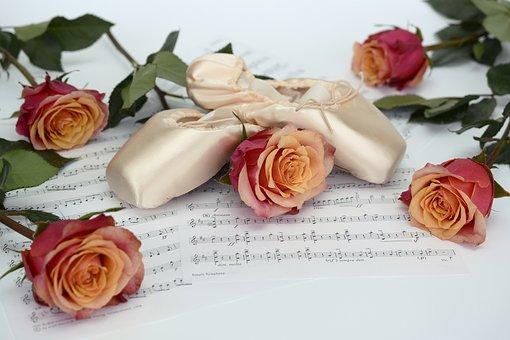 Ballet Shoes, Dance, Roses, Flowers