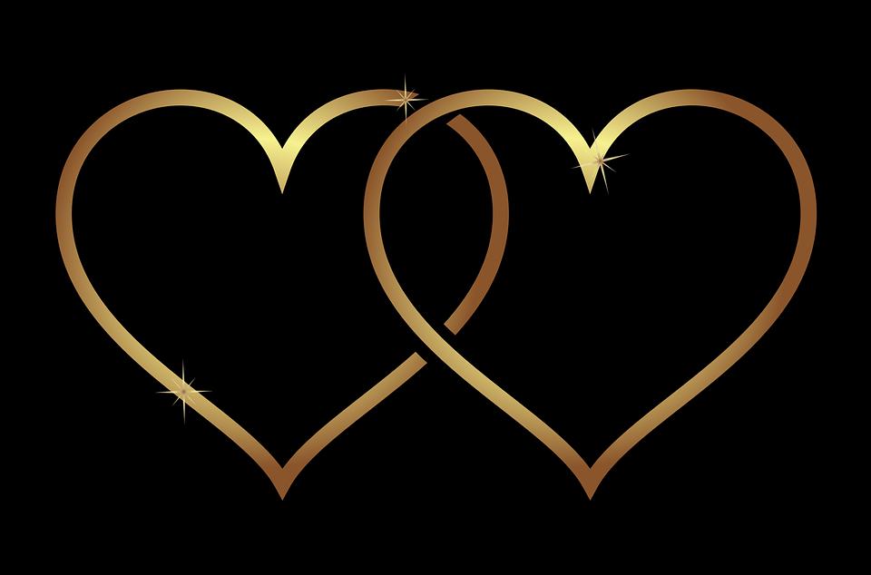 Herz, Hearts, Liebe, Hochzeit, Gold, Gradient, Plus