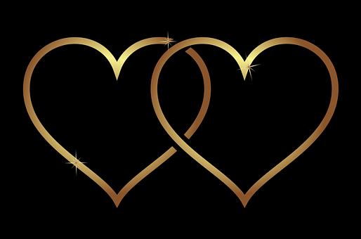 Herz, Hearts, Liebe, Hochzeit, Gold