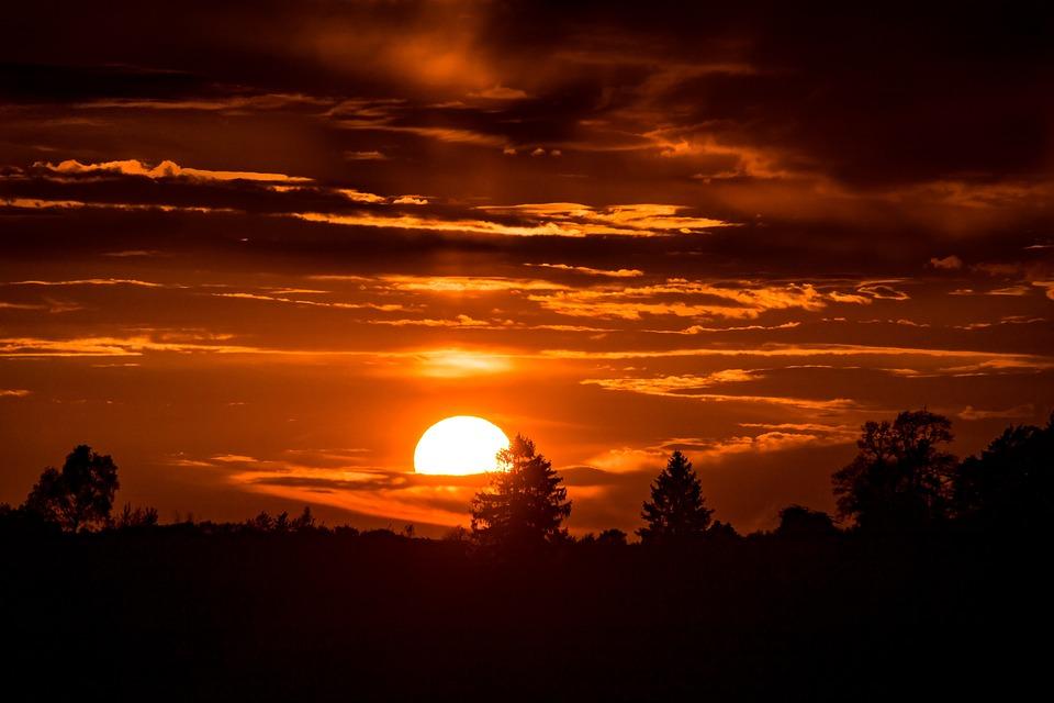 日落, 落山的太阳, 太阳在云端, 太阳, 傍晚的天空, abendstimmung