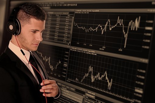 貿易, 実業家, ビジネス, モニター, 曲線, コース, 証券取引所, 金融