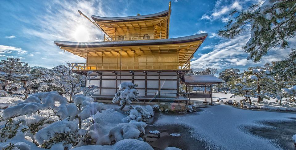 金閣寺, 雪, 逆光, 世界文化遺産, 京都, 日本