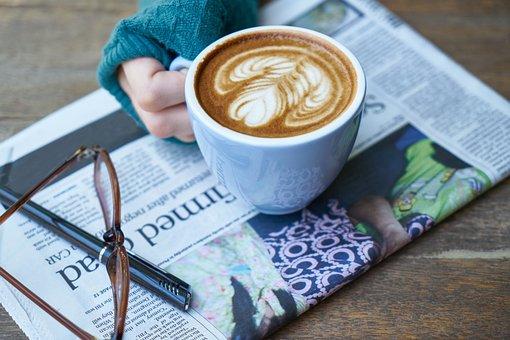 コーヒー, 新聞, 読む, ノートを取る, メモ, 作, 朝食, ペン