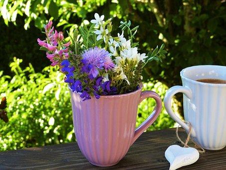 Blomster, Kop, Kaffe, Hjerte, Ud