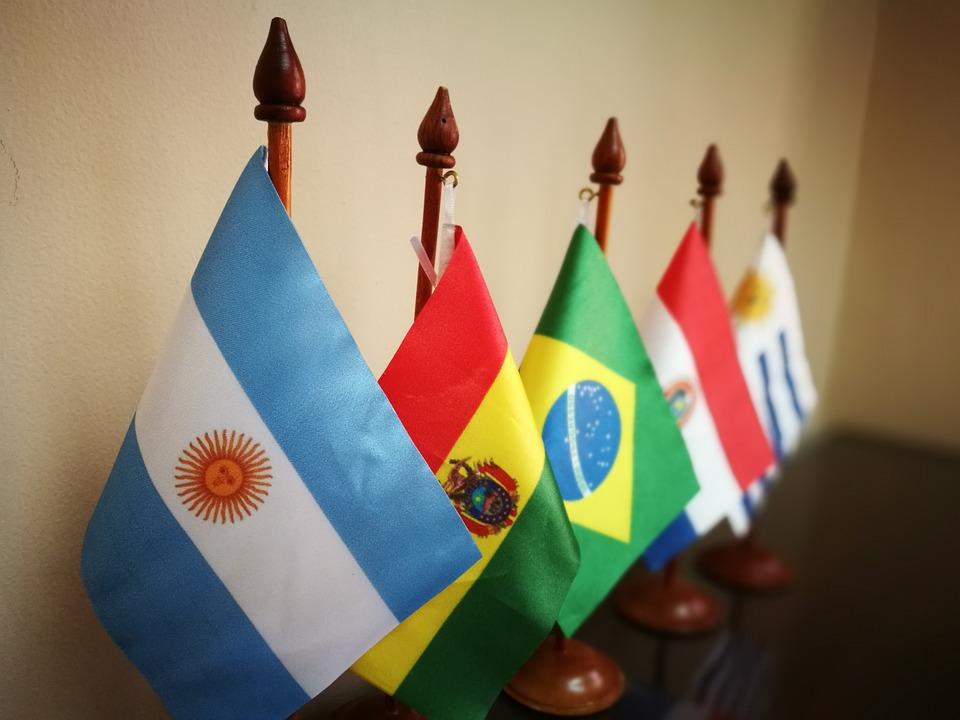 Países, Banderas, Argentina, Bolivia, Brasil, Paraguay