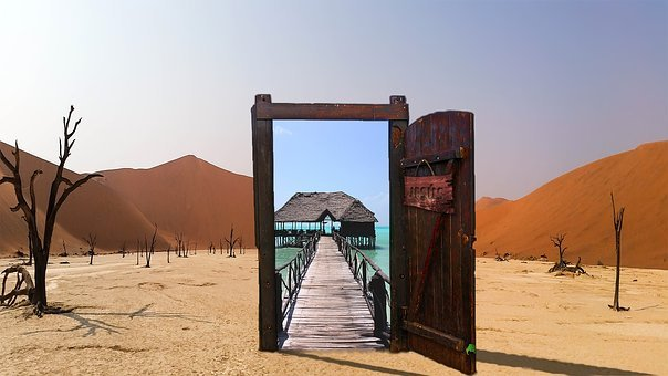 Oasis, Desert, Door, Jesus, Open, Glass
