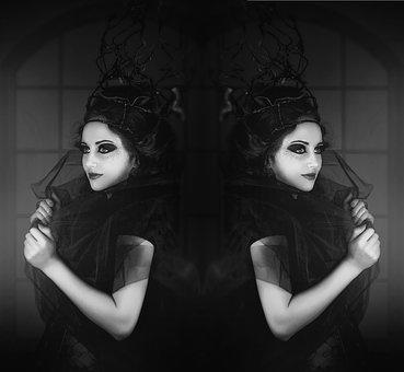 Black White, Woman, Mirrored, Emotions