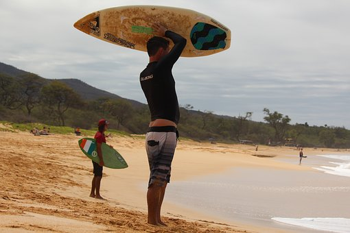 Beach, Surfboard, Surfer, Maui, Hawaii