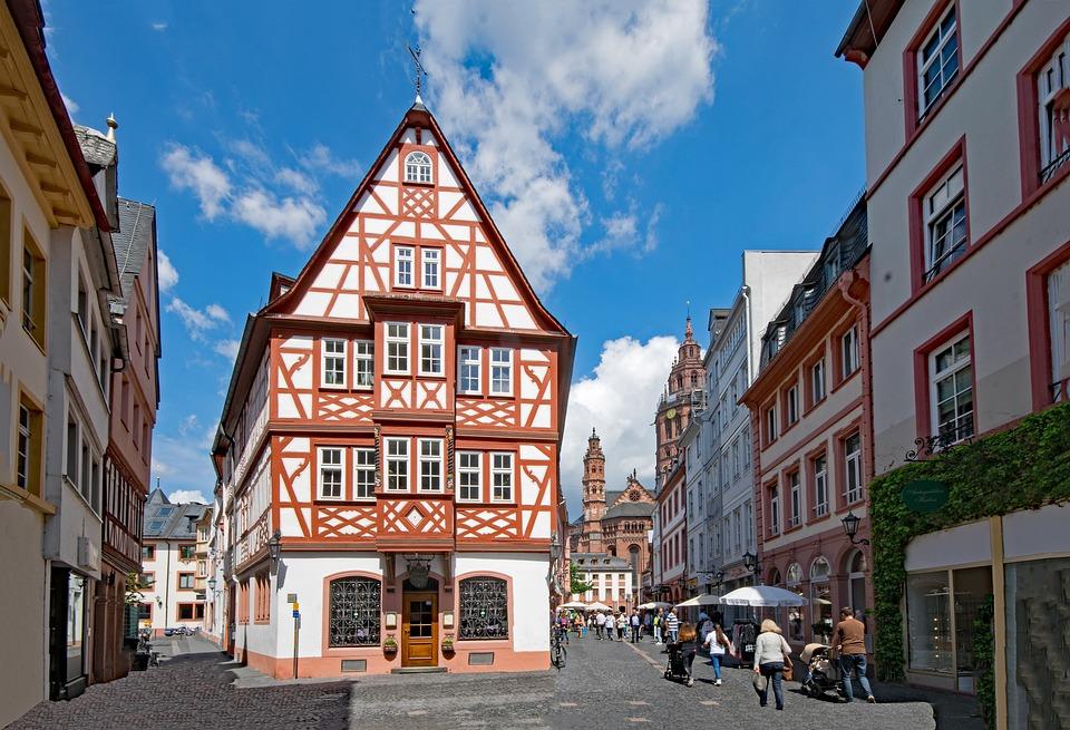 Mainz, Sachsen, Tyskland, Europa, Gamla Byggnaden
