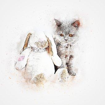 Cat, Grey, Pet, Bunny, Art, Abstract