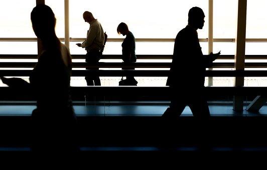 Personas, Caminar, Aeropuerto, Puerta