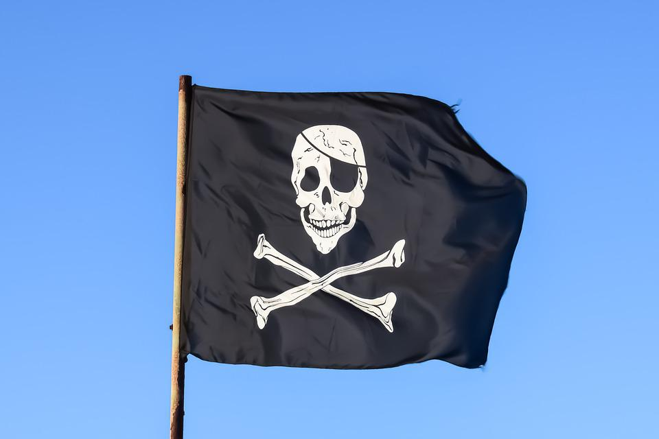 Pirate Flag, Black, Skull, Piracy, Skeleton, Emblem