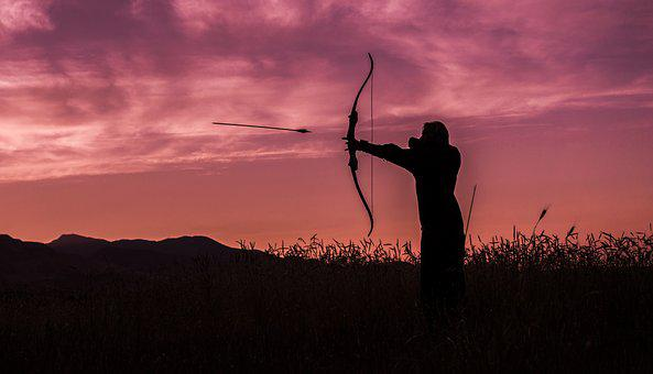 Archer, Archery, Sunset, Arrow, Bow