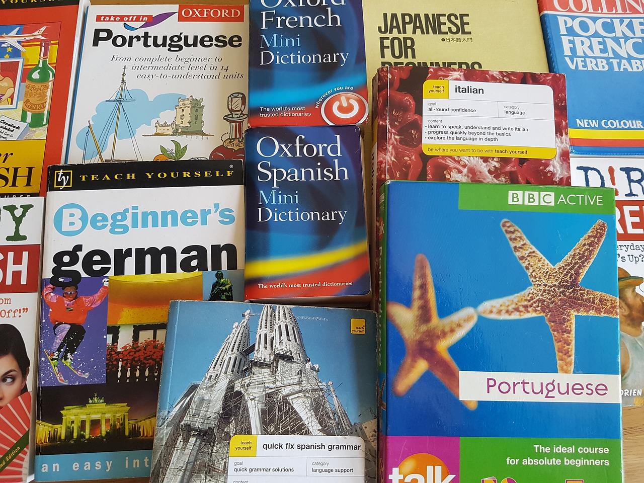 Language learning books.
