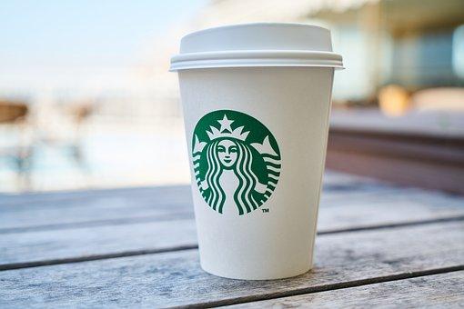 スターバックス, カップ, コーヒー, 美しい, マクロ, 食品, カフェ
