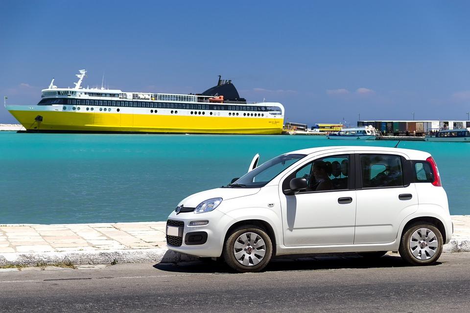 レンタカー, ギリシャ, 休日, 観光, 夏, ギリシャの島, 旅行, 島, 海, ポート, 船, フェリー