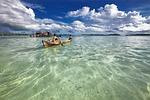 lagoon, dugout canoe, children