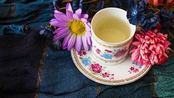 Flores, Té, Taza, Café, Bebida